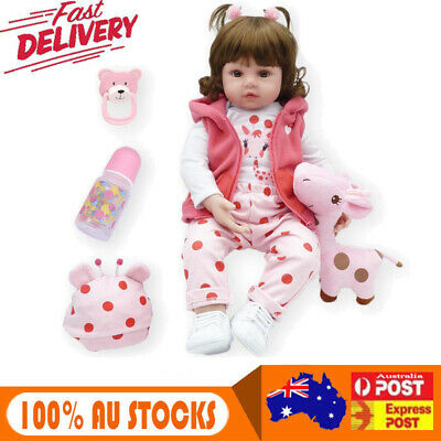 22''Lifelike Baby Girl Doll Handmade Silicone Vinyl Reborn Newborn Dolls Kid Toy