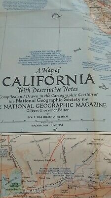 vintage map of CALIFORNIA AND DISCRIPTIVE NOTES 1954