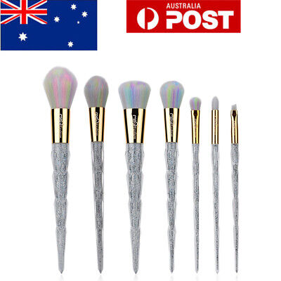 AU 7Pcs Silver Unicorn Makeup Brushes Set Cosmetics Powder Eyeshadow Brush Blush