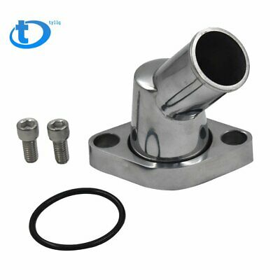 SBC BBC Polished Aluminum 45° Swivel Water Neck For SB BB Chevy 327 350 454 396