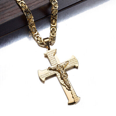 Bible Cross Pendant Luxury Stainless Steel Christian Pendant Byzantine Chain