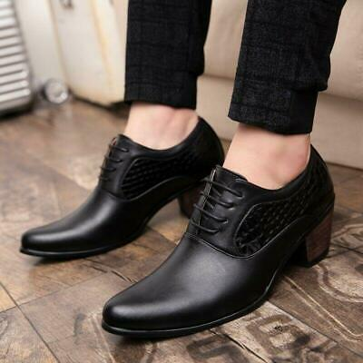 Details about  /Men Lace Up Cuban Heel Pointed Toe Business Dress Formal Leather Oxfords Shoe A2