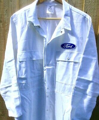 """Rare Fine Goodwood Revival Vintage Retro Style Ford Badged Overalls 50"""" Chest"""