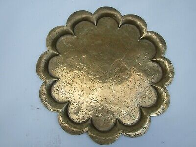 Antique Burmese Large Round Brass Serving  Tray Engraved Ornate Middle Eastern