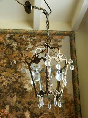 Vintage French Rococo Brass Lantern Crystal Glass drops Ceiling light Rewired
