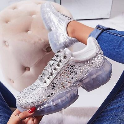 Womens Ladies Chunky Sole Diamante Diamond Crystal Sneakers Trainers Silver Shoe