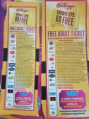 2 x Kelloggs Grown Ups Go Free Vouchers Alton Towers Chessington Legoland Thorpe