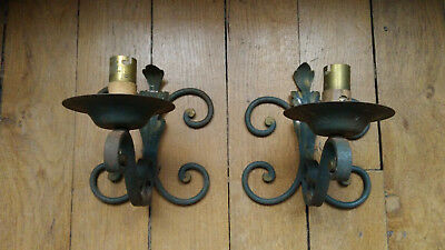 Pair 2 Antique French Wrought Iron Wall Sconce Lights Ornate Detail Rustic Chic