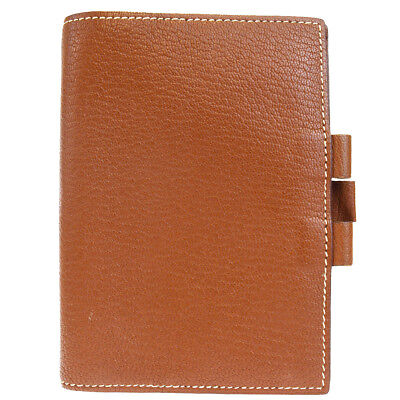 Authentic HERMES Logos Agenda Day Planner Notebook Cover Leather Brown 07EK277