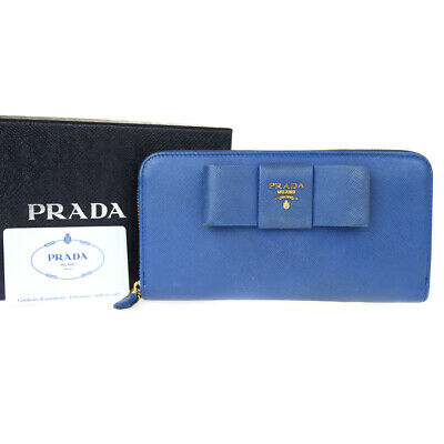 655aea6ecc AUTHENTIC PRADA CONTINENTAL Flap Leather Wallet - Blue Gold Logo ...