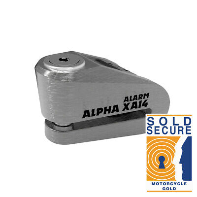 Oxford Alpha XA14 Motorcycle Disc Lock Alarm 14mm Pin Sold Secure - Stainless