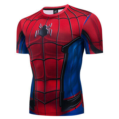 Mens Marvel Spiderman Compression T-Shirt Gym Sport Fitness Jersey Tops Tee