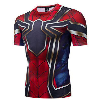 Mens Compression Spiderman T-Shirt Gym Sport Fitness Jersey Tops Tee T Shirts