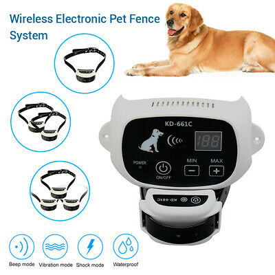 Waterproof Pet Dog Electronic Wireless Fence System Transmitter Receiver Collar