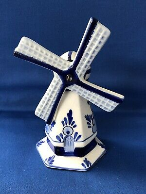 Hand Painted Delfts Blue White Delft Holland Pottery Windmill with Sails