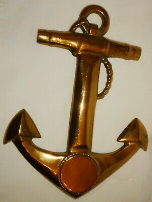 Vintage Solid Polished Brass Wall Hanging Anchor Nautical Decor