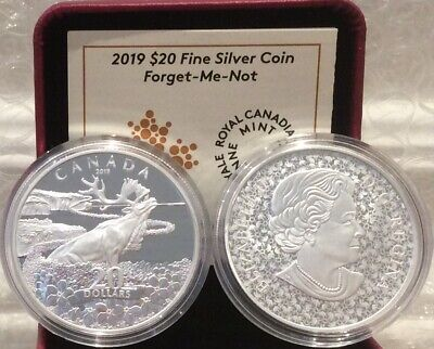 2019 Forget-Me-Not Flowers $20 1OZ Silver Proof Coin Canada Newfoundland Caribou