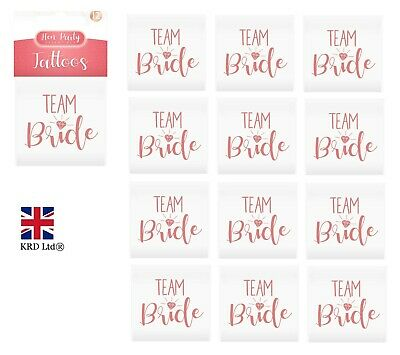 12 x TEAM BRIDE ROSE GOLD Temporary Hen Party Tattoos Alternative to Badges UK