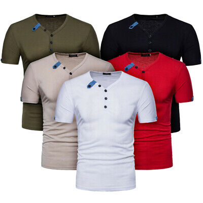 Men's V Neck T Shirts Button Short Sleeve Blouse Basic Tees Casual Slim Tops New