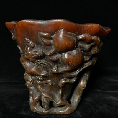 "6"" Chinese old antique Ox horn handcarved beast and Peach Cup D3"