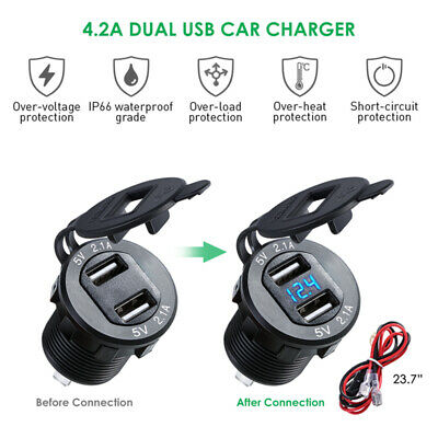 Car 12v Dual USB Charger Adapter 4.2A Fast Charging Digital LED Voltmeter Hot
