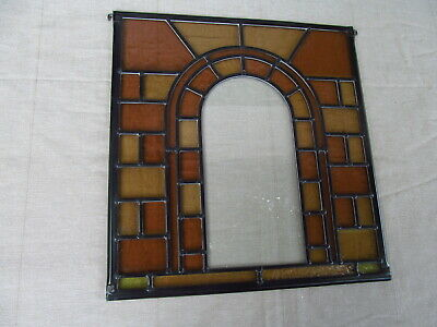 Newly crafted TRADITIONAL Stained Glass Window Panel  STONE ARCH 350mm by 350mm