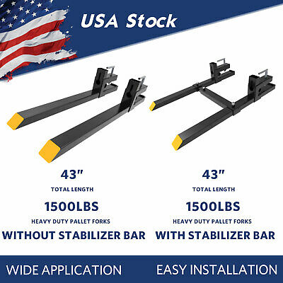 """1500Lbs Tractor Clamp On Pallet Forks 43"""" For Skid Steer Stabilizer Bar Optional"""