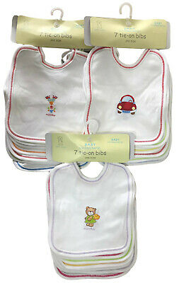 Baby Bibs 7 Pack Tie On Days Of The Week Boys Girls Cotton One Size Ex Store New