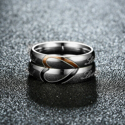 """Stainless Steel Heart Couples Ring Promise Engagement """" Real Love """" Wedding Band"""