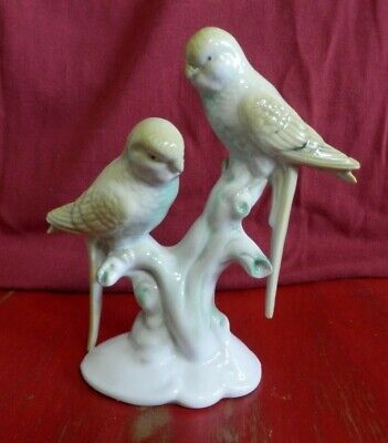 Vintage Glazed Porcelain Budgie/Parakeets Yellow and Green  Marked 6543