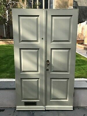 Reclaimed Vintage Pair of Front Victorian/Edwardian Hard Wood Doors 1930s 1940s