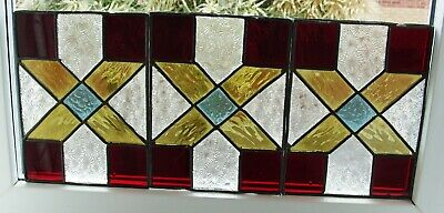 3  Coloured leaded stained glass panels 23cm x 17cm
