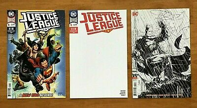 Justice League 1 Jim Cheung Main Cover, Blank Cover, Jim Lee Inks Only VAR NM