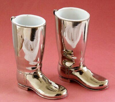 Vintage drink measures silver plate boots by Grenadier 1oz Horse riding boots