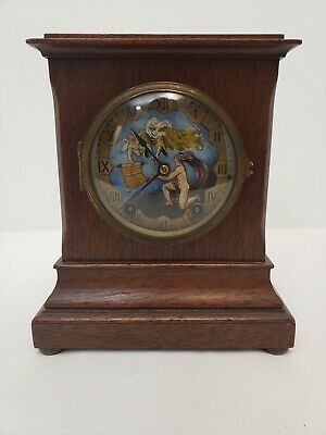 Seth Thomas Mantle clock & key 1847 vintage antique Wood with original Art 48J