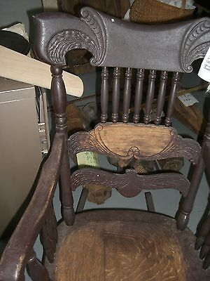 Antique  Rocking  rocker chair carved  wing  curved back turned  spindles