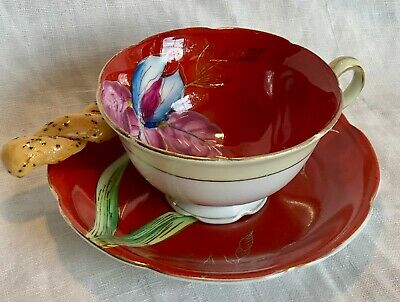 Teacup & Saucer OCCUPIED JAPAN Hand-Painted ORANGE W/ PURPLE ORCHID Gold Detail