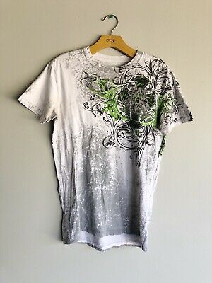 Archaic By Affliction Mens Size Small Short Sleeve White Green T-Shirt