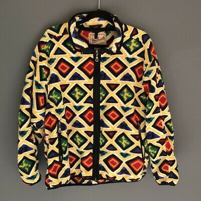 490b224a054 Vintage Woolrich 90s Size L Full ZIP Fleece Jacket Geometric Aztec Western  USA
