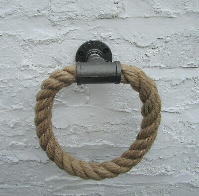 Industrial Style Towel Holder Ring Cast Iron & Natural Jute Rope Nautical