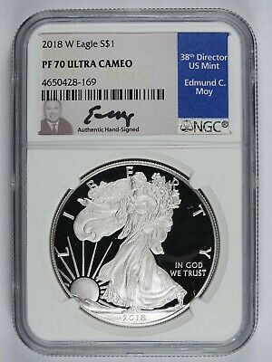 2018 W Silver American Eagle NGC PF70 Ultra Cameo Ed Moy Signed