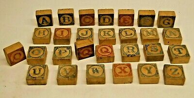 Vintage Antique Wooden Children's Building Blocks Alphabet - Estate Find