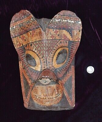 Pre-Columbian ~ MAYAN ~ Pre-Colombian Carved Painted Wood MASK ~ NR