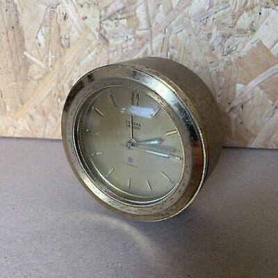 Vintage Europa Deluxe 7 Jewels Wind Up Alarm Clock - Brass - Spares or Repair
