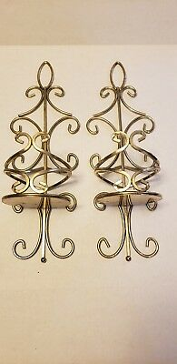 2 Beautiful Tall Metal Brass Pillar Candle Holders Sconces Home Interior Scroll