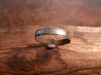 Early Medieval Saxon Or Viking Band Decorated Ring-British Detecting Find