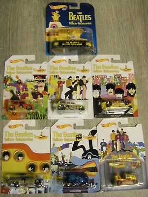 The Beatles Set of 7 Hot Wheels The Beatles Yellow Submarine Cars with Submarine