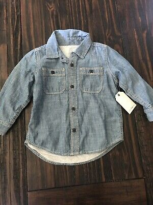 Nwt baby gap chambray button down lined boys 18-24