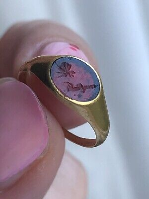 Antique Yellow Gold Closed Back Signet Ring Georgian Butterfly Grasshopper Sweet