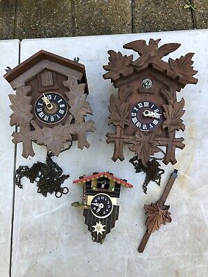 Vtg Wooden Wall Germany Cuckoo Parts Day Music Black Antique Forest Bird Lot
